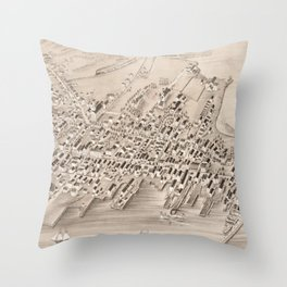 Vintage Pictorial Map of Stonington CT (1879) Throw Pillow