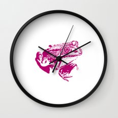 pink frog IV Wall Clock