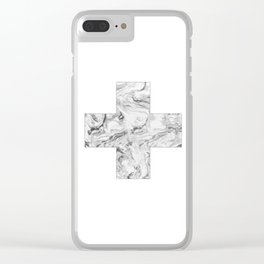 Swiss cross marble black & white Clear iPhone Case