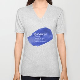 Pluviophile - Word Nerd Definition - Blue Watercolor Unisex V-Neck