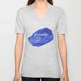 Pluviophile - Word Nerd Definition - Blue Watercolor Unisex V-Neck
