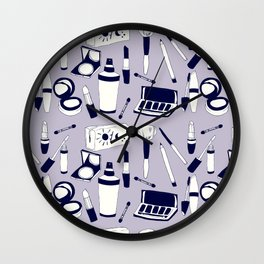 Purple Make-up Pattern Wall Clock