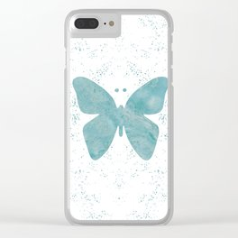 Decorative White Overlay Turquoise Marble Buttefly Clear iPhone Case