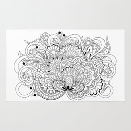 black and white zen tangled composition Rug