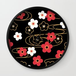 Black Sakura Kimono Pattern Wall Clock