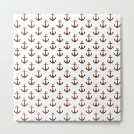 Anchors (Brown & White Pattern) Metal Print