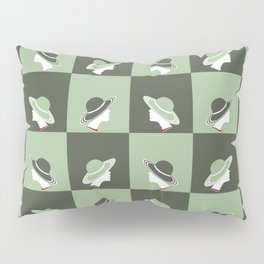 Hat lady in Dark and Mint green Pillow Sham