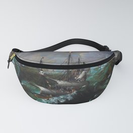 New England Ships and Whales in a Tempest by by Hendrick Cornelisz Vroom Fanny Pack