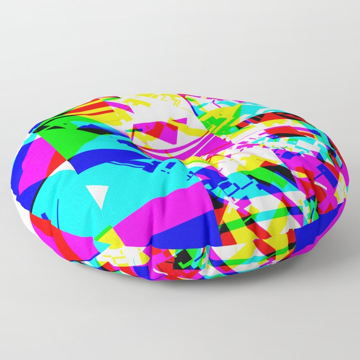 Glitch geometric pattern design artwork Floor Pillow