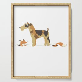 Fox Terrier With Fox Gift Idea Serving Tray
