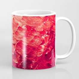 MERMAID SCALES 4 Red Vibrant Ocean Waves Splash Crimson Strawberry Summer Ombre Abstract Painting Coffee Mug