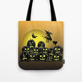 Pumpkins and witch in front of a full moon Tote Bag