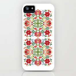 Hungarian Folk Design Red and Pink iPhone Case