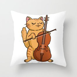 Cat Playing Cello Cat Lover Throw Pillow