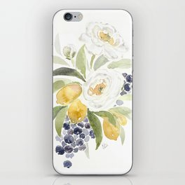 Watercolor Flowers with Blueberries iPhone Skin