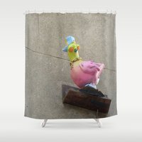 hip hop Shower Curtains featuring hip-hop pigeon by Michelle Loidl