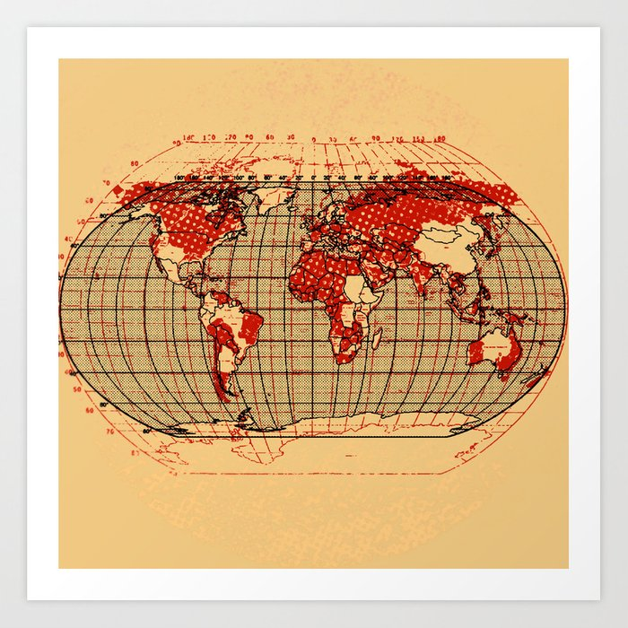 Vintage World Map Art.Vintage World Map Art Print By Krisleov Society6