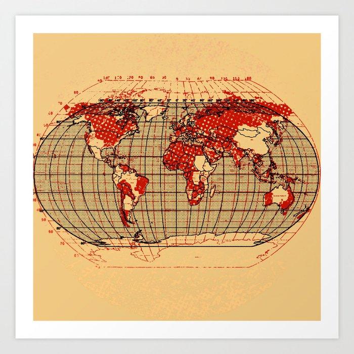 Vintage World Map Art.Vintage World Map Art Print By Krisleov Society6
