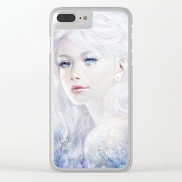 Snow white hair ice girl Clear iPhone Case