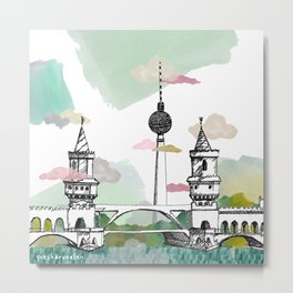 Oberbaum Brücke and TV Tower - Berlin - East/West boundary - East Side Gallery Metal Print