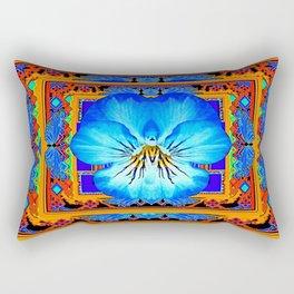 Orange Southwest Blue pansy Patterned Art Design Rectangular Pillow