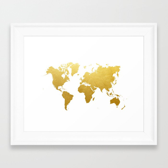Faux gold foil world map print gold art print interior design wall faux gold foil world map print gold art print interior design wall art pop art the globe usa europe framed art print by cocoandjames society6 gumiabroncs Images