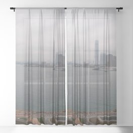 Hong Kong Skyline #decor #society6 #buyart Sheer Curtain