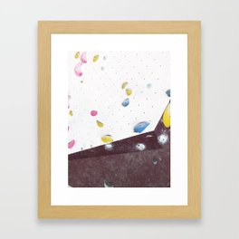 Geometric abstract free climbing bouldering holds pink yellow Framed Art Print