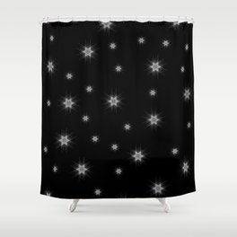 White Nordic star with fine geometric lines pattern Shower Curtain