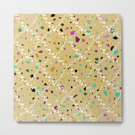 Terrazzo Seamless pattern abstract texture, traditional geometric flooring material, chips of marble granite. pastel colors yellow beige background  Metal Print