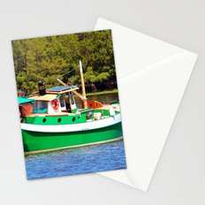 White And Green Boat Stationery Cards