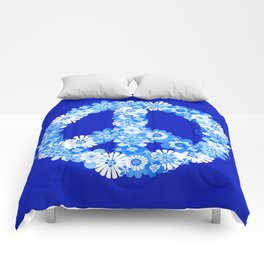 Peace Sign Floral Blue Comforters