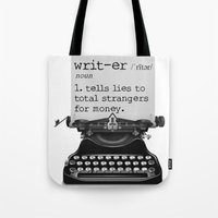 writer Tote Bags featuring Writer Defined by Nicole Austin