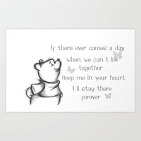 pooh Art Prints featuring Insightful Pooh by Makayla Wilkerson