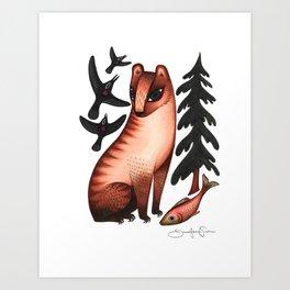 Black Bear, Red Heart Art Print