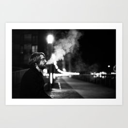 Smoking by the Clyde Art Print