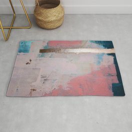 Morning Light: a minimal abstract mixed-media piece in pink gold and blue by Alyssa Hamilton Art Rug