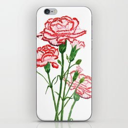 pink and red carnation watercolor painting iPhone Skin