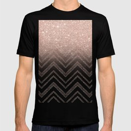 Modern faux rose gold glitter ombre modern chevron stitches pattern T-shirt