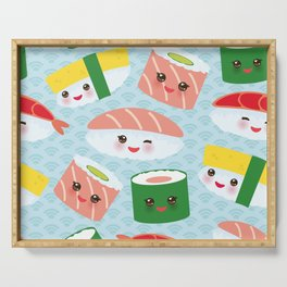 pattern Kawaii funny sushi rolls set with pink cheeks and big eyes, emoji Serving Tray