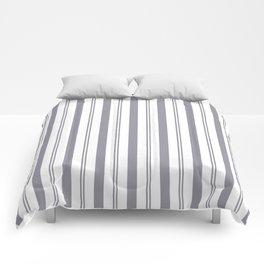 Pantone Lilac Gray & White Wide & Narrow Vertical Lines Stripe Pattern Comforters