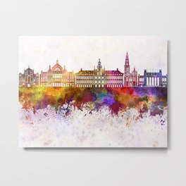 Antwerp skyline in watercolor background Metal Print