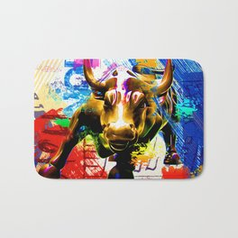 Wall Street Bull Painted Bath Mat