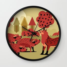 three little pigs and wolf Wall Clock