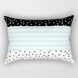 Modern black white teal stripes watercolor polka dots Rectangular Pillow
