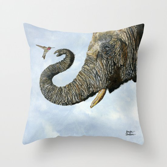 Elephant Cyril And Hummingbird Ayre Throw Pillow