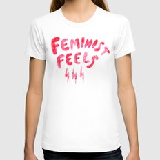 Feminist Feels Womens Fitted Tee White SMALL