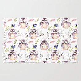 Watercolor Owl Pattern Rug