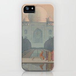 Morning Mist in Taj Mahal by Yoshida Hiroshi - Japanese Vintage Ukiyo-e Woodblock Painting iPhone Case
