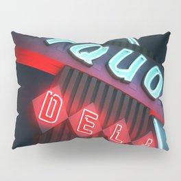 Liquor Deli Vintage Retro Neon Sign Nighttime Pillow Sham
